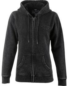 Fly Racing Snow Wash Womens Zip-Hoodie Sweatshirt Black