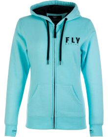 Fly Racing Logo Womens Zip Hoodie Sweatshirt Light Blue