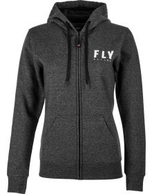 Fly Racing Logo Womens Zip Hoodie Sweatshirt Dark Charcoal