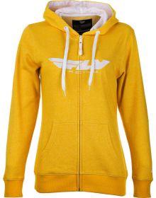 Fly Racing Corporate Womens Zip Up Hoodie Sweatshirt Mustard