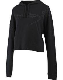 Troy Lee Designs Signature Floral Crop Womens Pullover Sweatshirt Black