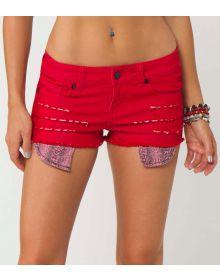 Metal Mulisha Rage Denim Womens Shorts Red