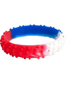 Moto365 Rubber Wristband Knobby Tire White/Red/Blue