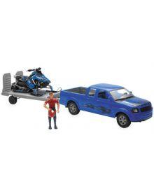New Ray Polaris Switchback Snowmobile W/Truck Toy Replica Set Blue