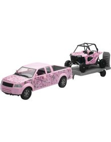 New Ray Camo UTV W/Truck Pink 1:18 Scale Toy Replica