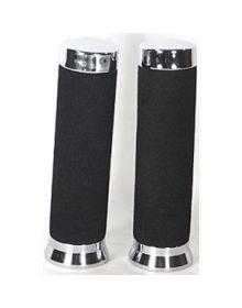 Deluxe Foam Grips Chrome/Black 5.5In - Gl1200/1500 82-00